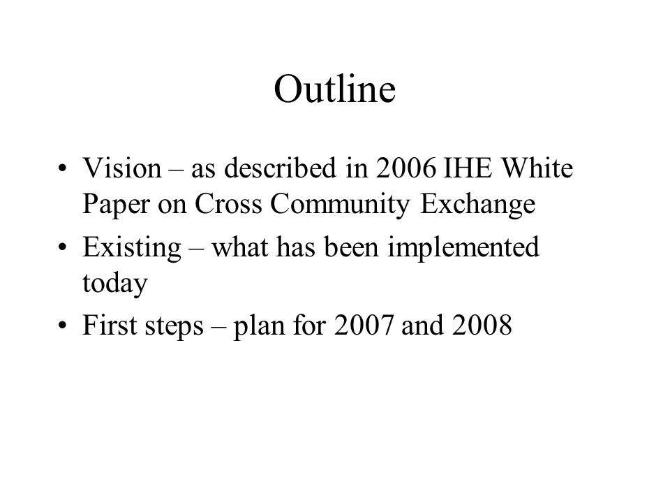 Outline Vision – as described in 2006 IHE White Paper on Cross Community Exchange Existing – what has been implemented today First steps – plan for 20