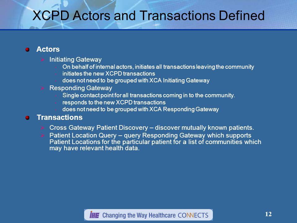 12 XCPD Actors and Transactions Defined Actors  Initiating Gateway On behalf of internal actors, initiates all transactions leaving the community initiates the new XCPD transactions does not need to be grouped with XCA Initiating Gateway  Responding Gateway Single contact point for all transactions coming in to the community.