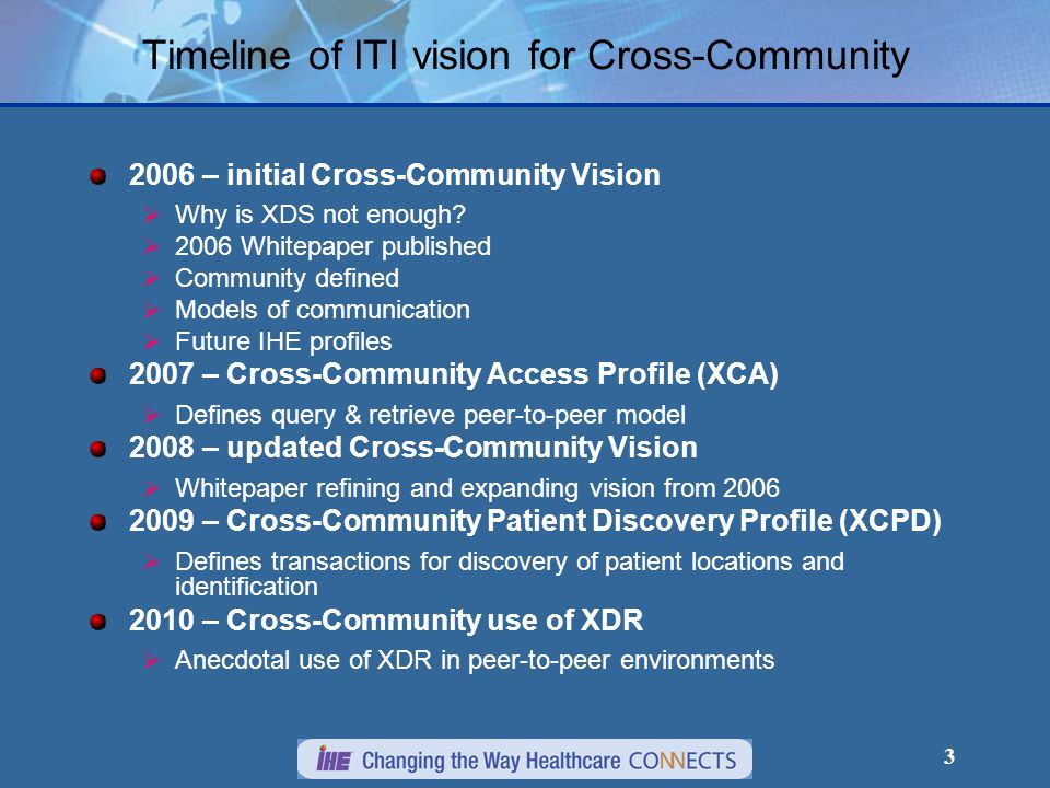 24 XCA Introduction The Cross-Community Access (XCA) profile supports:  the means to query and retrieve patient relevant medical data held by other communities.