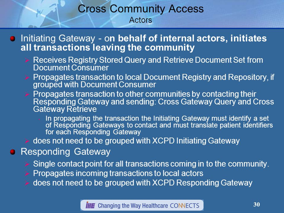 30 Cross Community Access Actors Initiating Gateway - on behalf of internal actors, initiates all transactions leaving the community  Receives Registry Stored Query and Retrieve Document Set from Document Consumer  Propagates transaction to local Document Registry and Repository, if grouped with Document Consumer  Propagates transaction to other communities by contacting their Responding Gateway and sending: Cross Gateway Query and Cross Gateway Retrieve In propagating the transaction the Initiating Gateway must identify a set of Responding Gateways to contact and must translate patient identifiers for each Responding Gateway  does not need to be grouped with XCPD Initiating Gateway Responding Gateway  Single contact point for all transactions coming in to the community.