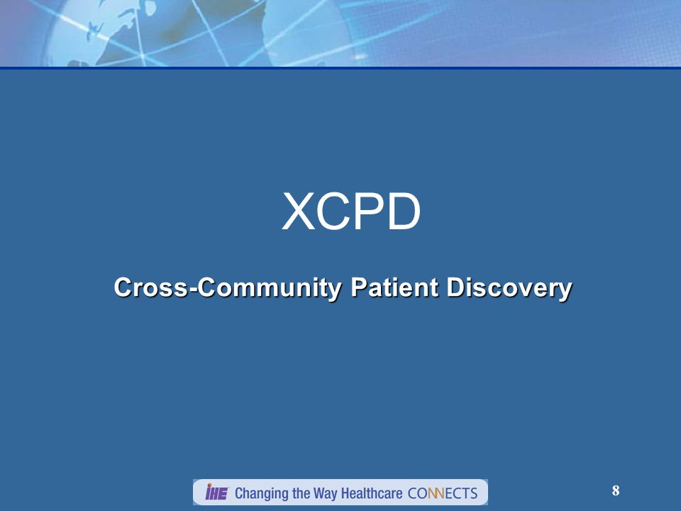 19 Cross Gateway Patient Discovery Transaction Standards Based on HL7 V3 Patient Administration DSTU, Patient Topic  Patient Registry Query by Demographics  Patient Registry Find Candidates Response  Patient Nullify Design started with PDQ V3 Query (incomplete list of differences with PDQ V3):  asynchronous web services exchange  mutual discovery of patient identifier correlations  special error codes  requiring name and gender  supports MothersMaidenName and PrincipalCareProviderId  specification of homeCommunityId and Community patient id assigning authority.