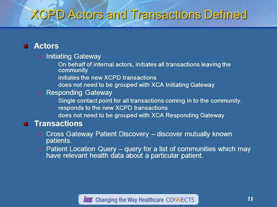 11 XCPD Actors and Transactions Defined Actors  Initiating Gateway On behalf of internal actors, initiates all transactions leaving the community initiates the new XCPD transactions does not need to be grouped with XCA Initiating Gateway  Responding Gateway Single contact point for all transactions coming in to the community.