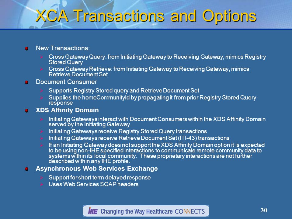 30 XCA Transactions and Options New Transactions:  Cross Gateway Query: from Initiating Gateway to Receiving Gateway, mimics Registry Stored Query  Cross Gateway Retrieve: from Initiating Gateway to Receiving Gateway, mimics Retrieve Document Set Document Consumer  Supports Registry Stored query and Retrieve Document Set  Supplies the homeCommunityId by propagating it from prior Registry Stored Query response XDS Affinity Domain  Initiating Gateways interact with Document Consumers within the XDS Affinity Domain served by the Initiating Gateway.