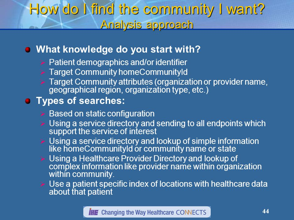 44 How do I find the community I want. Analysis approach What knowledge do you start with.