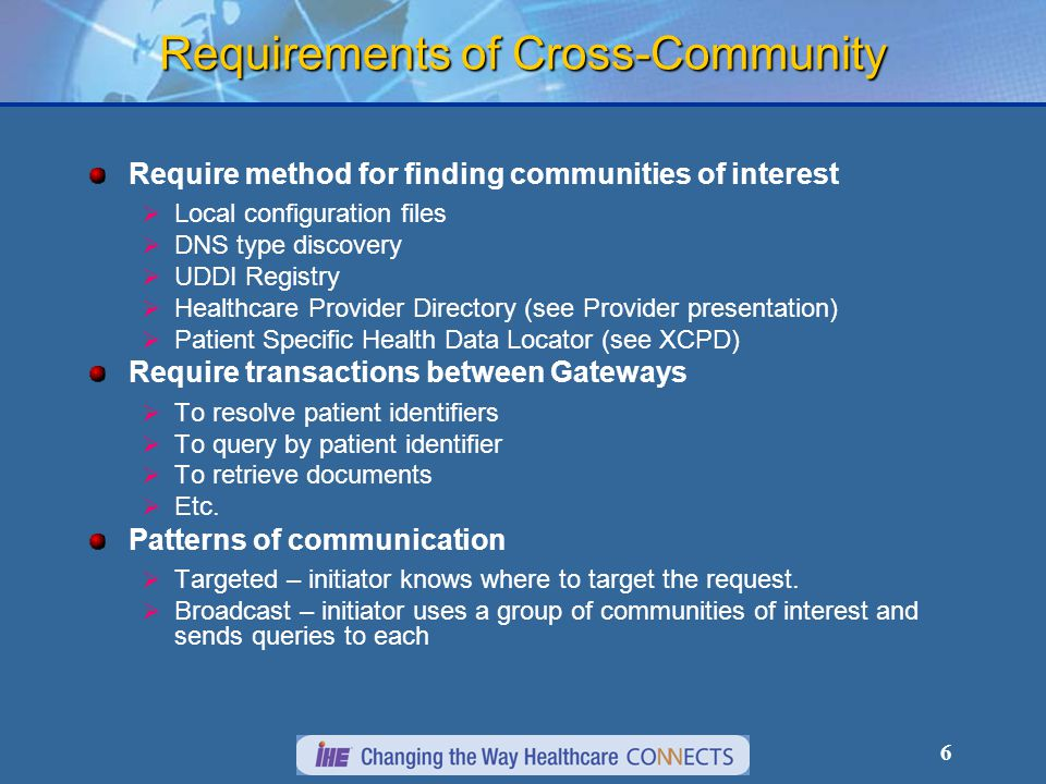 6 Requirements of Cross-Community Require method for finding communities of interest  Local configuration files  DNS type discovery  UDDI Registry  Healthcare Provider Directory (see Provider presentation)  Patient Specific Health Data Locator (see XCPD) Require transactions between Gateways  To resolve patient identifiers  To query by patient identifier  To retrieve documents  Etc.