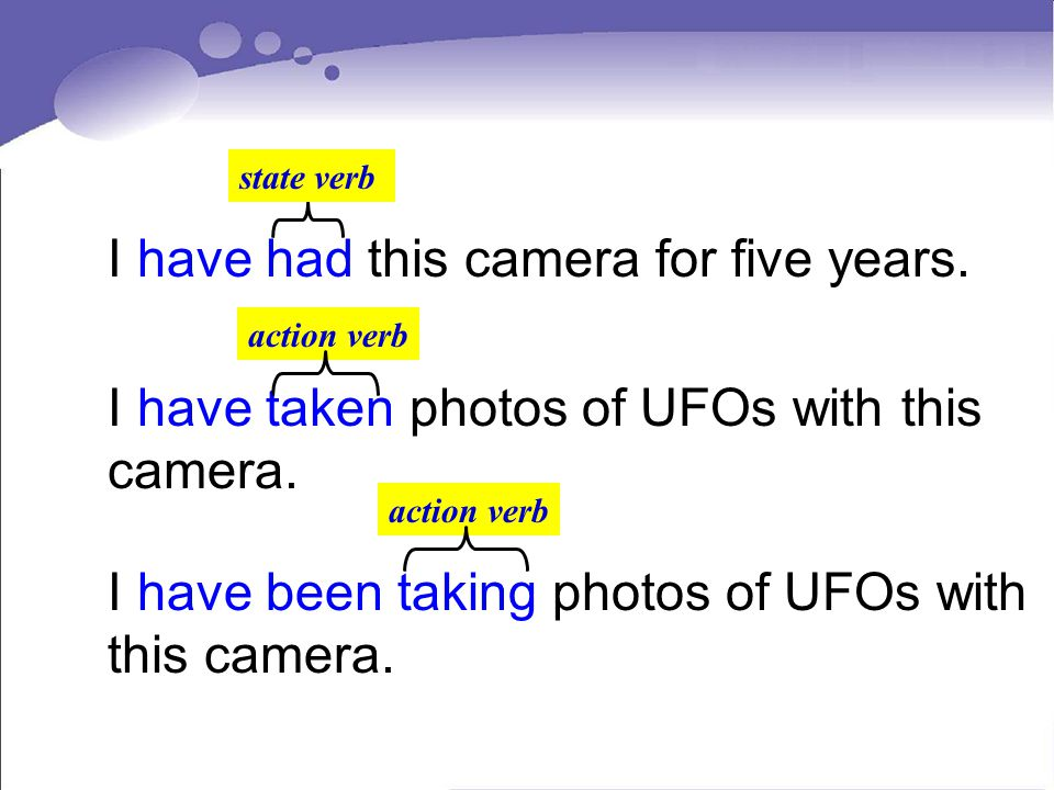 I have had this camera for five years. state verb I have taken photos of UFOs with this camera. I have been taking photos of UFOs with this camera. ac
