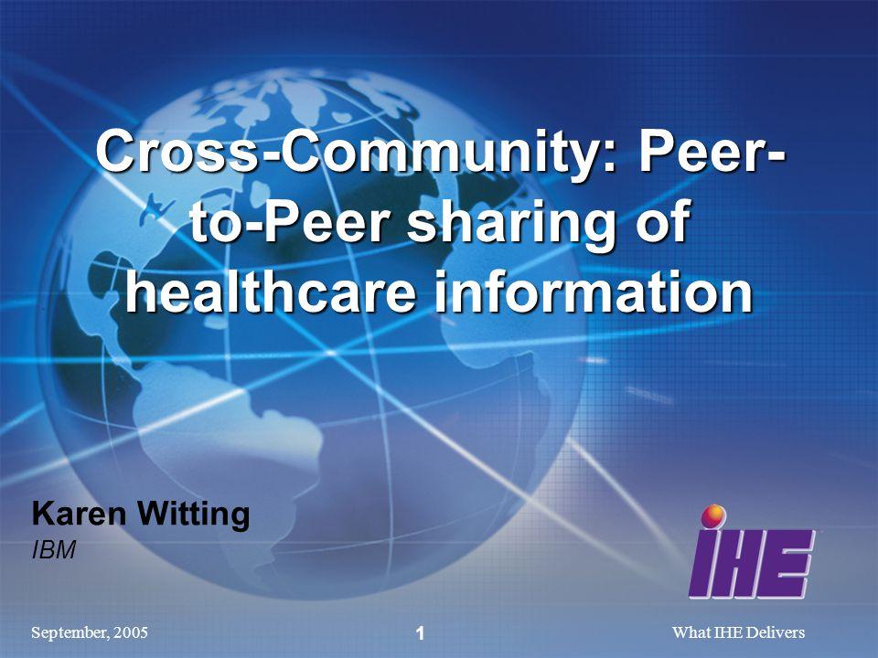September, 2005What IHE Delivers 1 Karen Witting IBM Cross-Community: Peer- to-Peer sharing of healthcare information