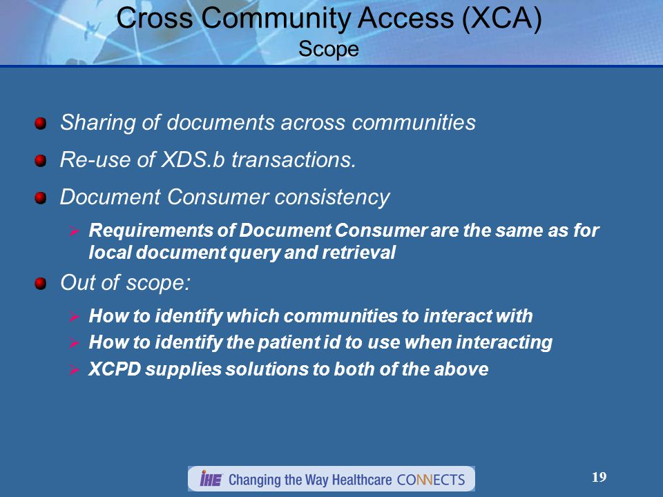 19 Cross Community Access (XCA) Scope Sharing of documents across communities Re-use of XDS.b transactions.