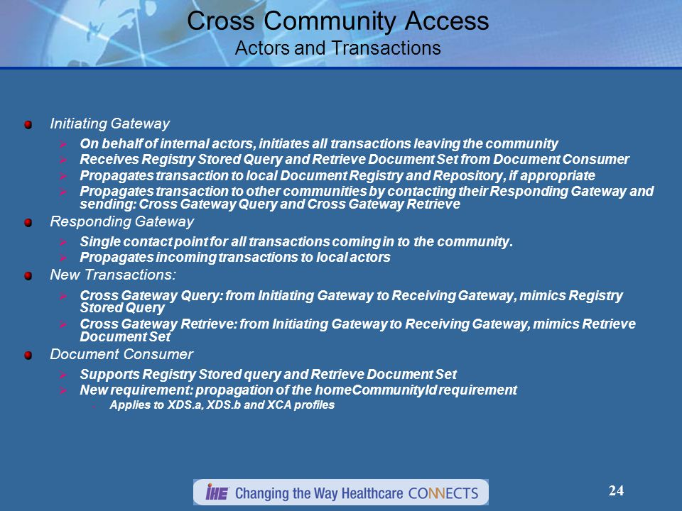 24 Cross Community Access Actors and Transactions Initiating Gateway  On behalf of internal actors, initiates all transactions leaving the community  Receives Registry Stored Query and Retrieve Document Set from Document Consumer  Propagates transaction to local Document Registry and Repository, if appropriate  Propagates transaction to other communities by contacting their Responding Gateway and sending: Cross Gateway Query and Cross Gateway Retrieve Responding Gateway  Single contact point for all transactions coming in to the community.