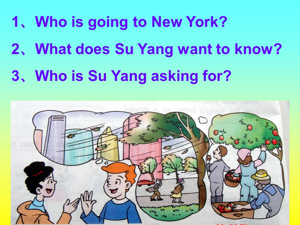 1 、 Who is going to New York? 2 、 What does Su Yang want to know? 3 、 Who is Su Yang asking for?