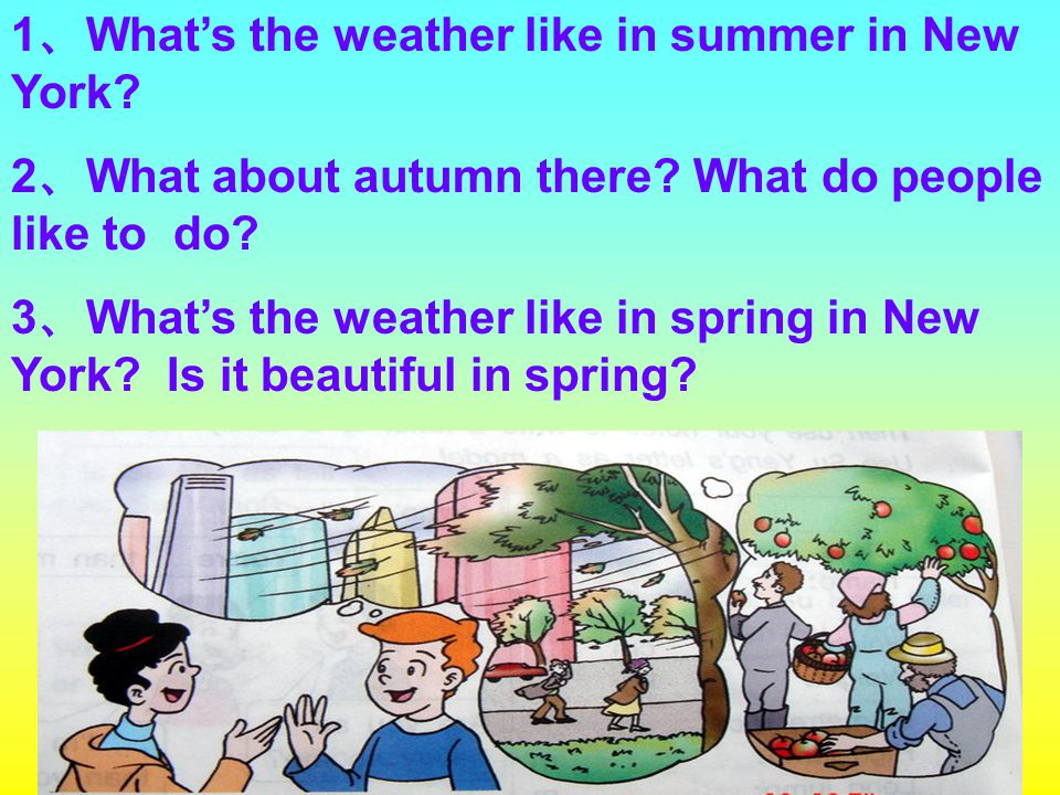 1 、 What's the weather like in summer in New York? 2 、 What about autumn there? What do people like to do? 3 、 What's the weather like in spring in Ne