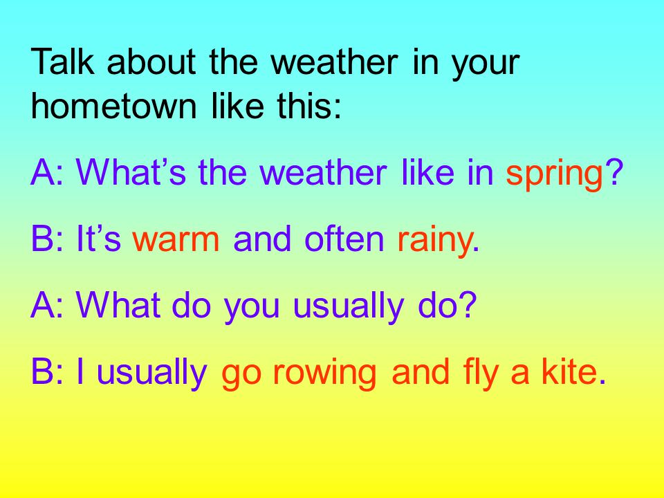 Talk about the weather in your hometown like this: A: What's the weather like in spring? B: It's warm and often rainy. A: What do you usually do? B: I