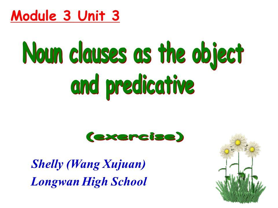 Module 3 Unit 3 Shelly (Wang Xujuan) Longwan High School