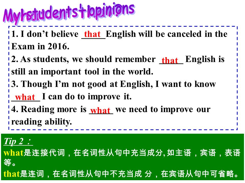 1. I don't believe _____English will be canceled in the Exam in 2016.
