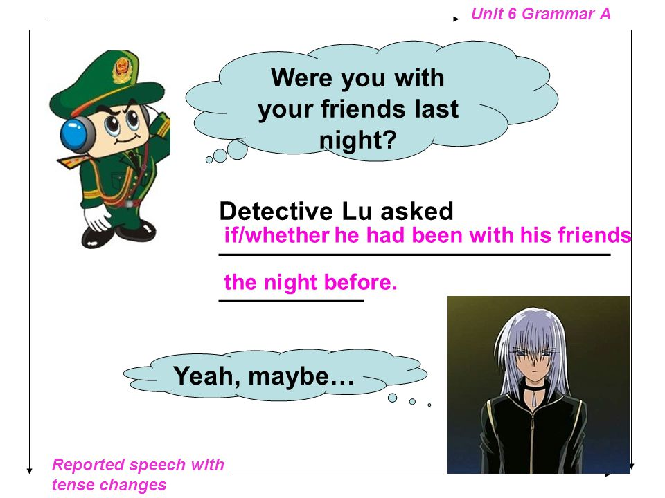 Reported speech with tense changes Unit 6 Grammar A Do you know the victim.