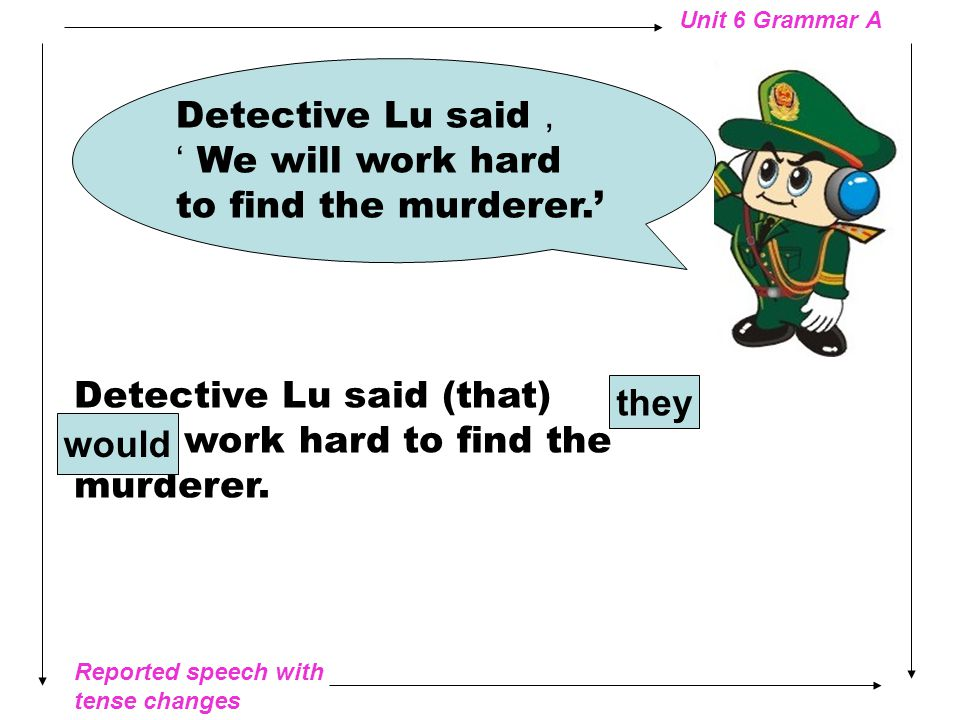 Reported speech with tense changes Unit 6 Grammar A Detective Lu said , 'A young man was killed in Valley Town.' Detective Lu said (that) a young man was killed in Valley Town.