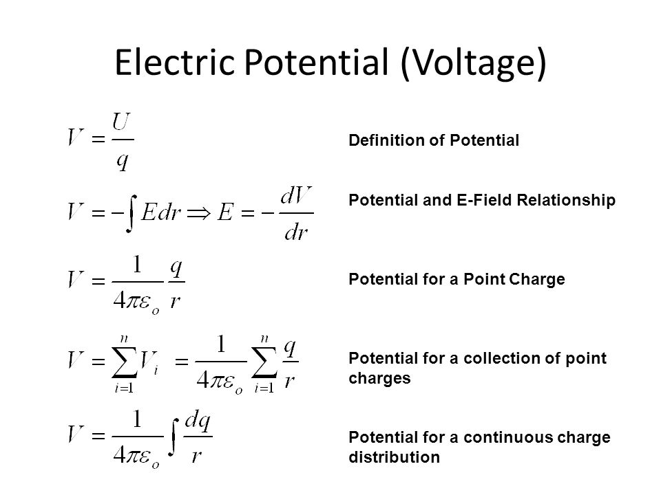 Electric Potential (Voltage) Definition of Potential Potential and E-Field Relationship Potential for a Point Charge Potential for a collection of poi