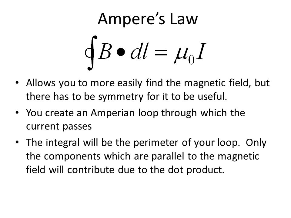 Ampere's Law Allows you to more easily find the magnetic field, but there has to be symmetry for it to be useful. You create an Amperian loop through