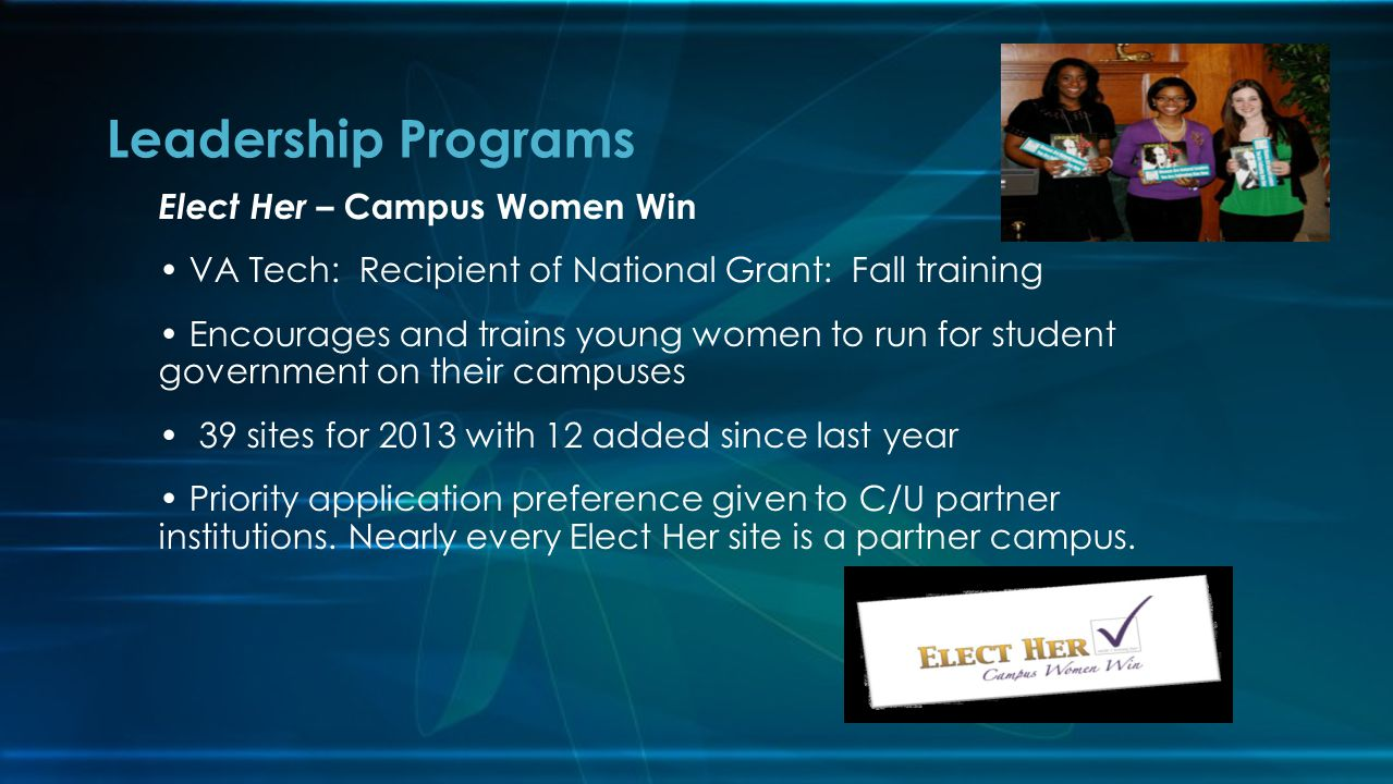 Leadership Programs Elect Her – Campus Women Win VA Tech: Recipient of National Grant: Fall training Encourages and trains young women to run for stud