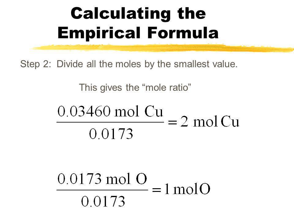 Calculating the Empirical Formula Step 1: Convert the masses to moles. Copper: Oxygen: