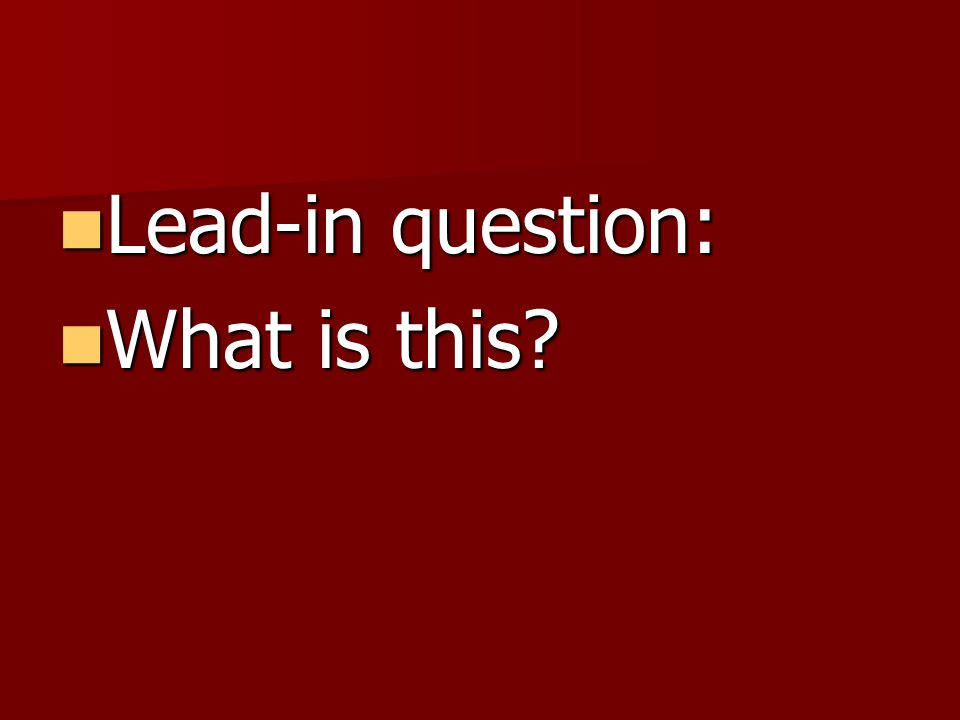 Lead-in question: Lead-in question: What is this? What is this?