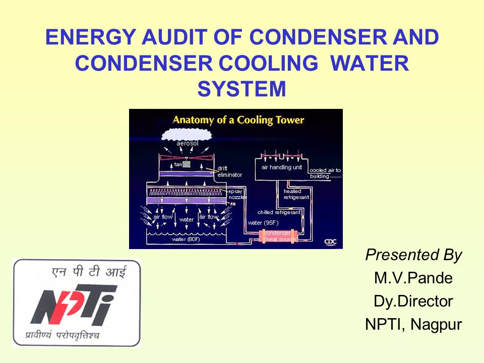 ENERGY AUDIT OF CONDENSER AND CONDENSER COOLING WATER SYSTEM Presented By M.V.Pande Dy.Director NPTI, Nagpur