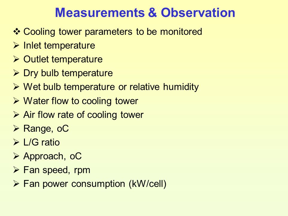 Measurements & Observation  Cooling tower parameters to be monitored  Inlet temperature  Outlet temperature  Dry bulb temperature  Wet bulb tempe