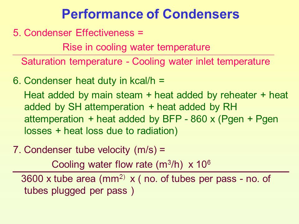 Performance of Condensers 5. Condenser Effectiveness = Rise in cooling water temperature Saturation temperature - Cooling water inlet temperature 6. C