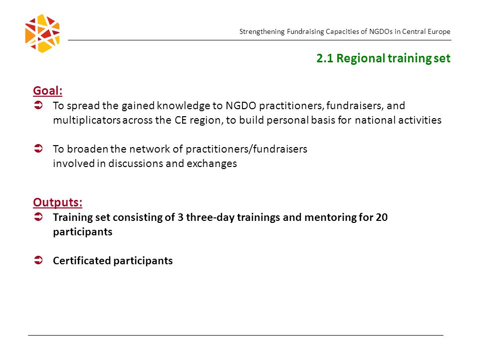 Goal:   To spread the gained knowledge to NGDO practitioners, fundraisers, and multiplicators across the CE region, to build personal basis for nati