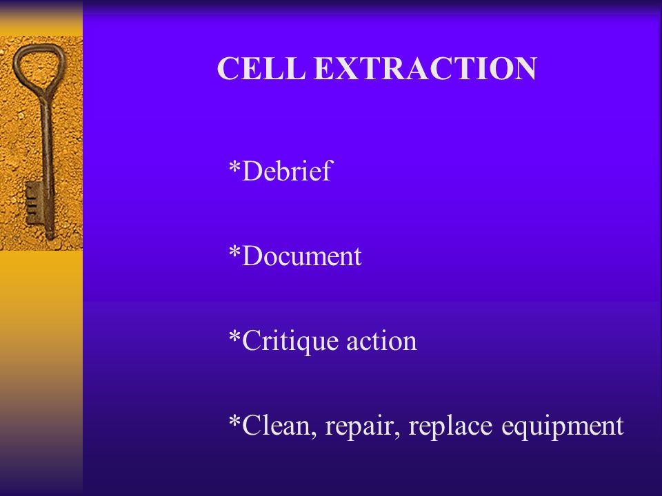 CELL EXTRACTION *Neutralize inmate *Place restraints on inmate *Place inmate on stretcher *Remove inmate *Address medical needs of inmate & team member if any