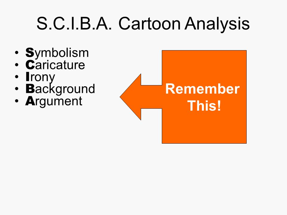 S.C.I.B.A. Cartoon Analysis S ymbolism C aricature I rony B ackground A rgument Remember This!