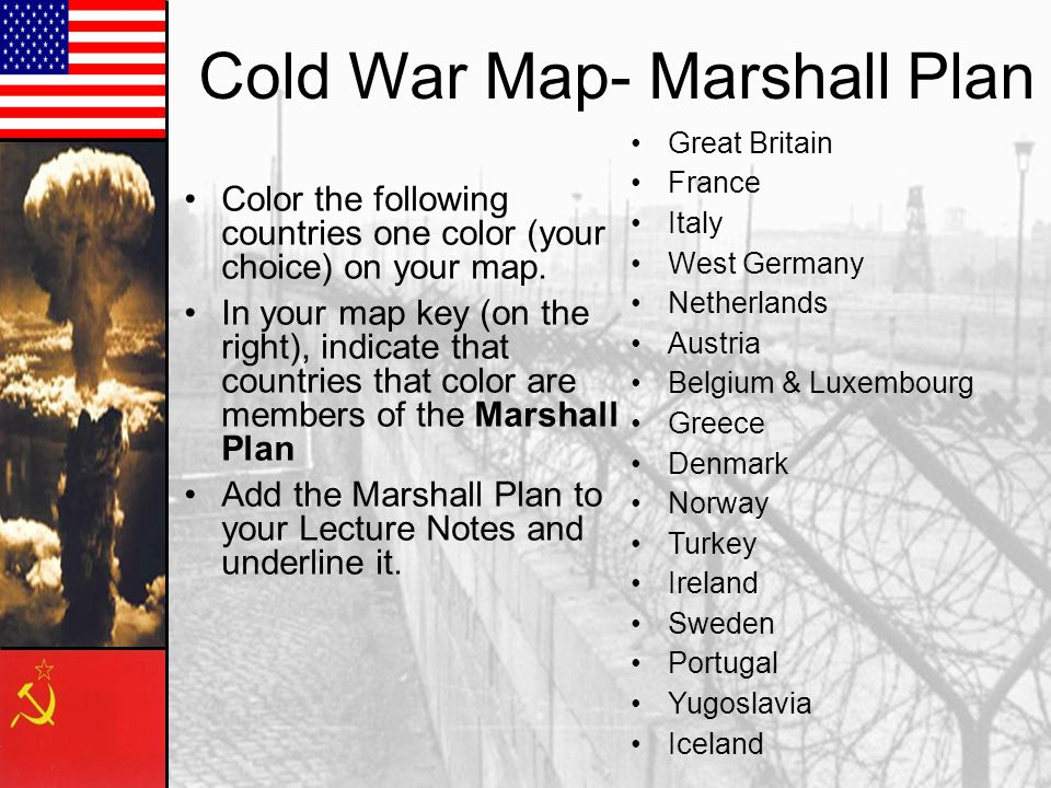 Cold War Map- Marshall Plan Color the following countries one color (your choice) on your map.