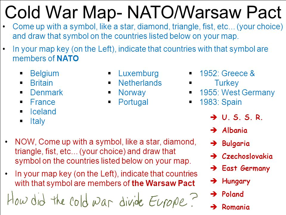 Cold War Map- NATO/Warsaw Pact Come up with a symbol, like a star, diamond, triangle, fist, etc...