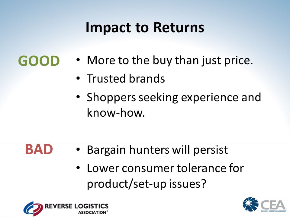 Impact to Returns More to the buy than just price.