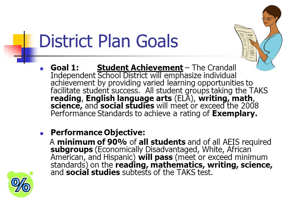 District Plan Goals Goal 1:Student Achievement – The Crandall Independent School District will emphasize individual achievement by providing varied le