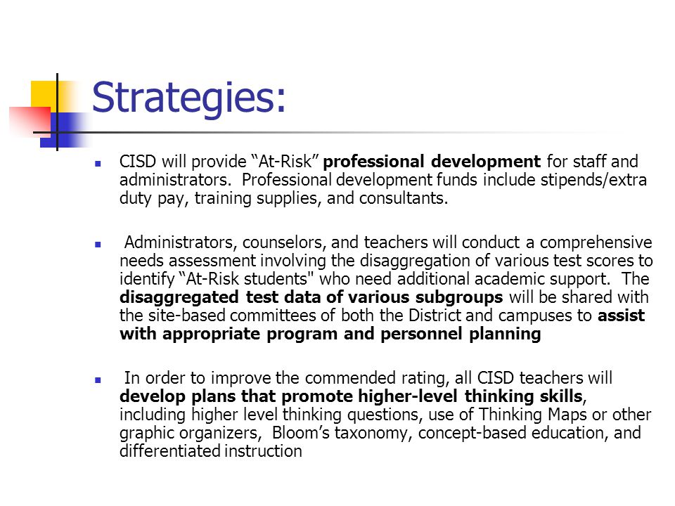 Strategies: CISD will provide At-Risk professional development for staff and administrators.