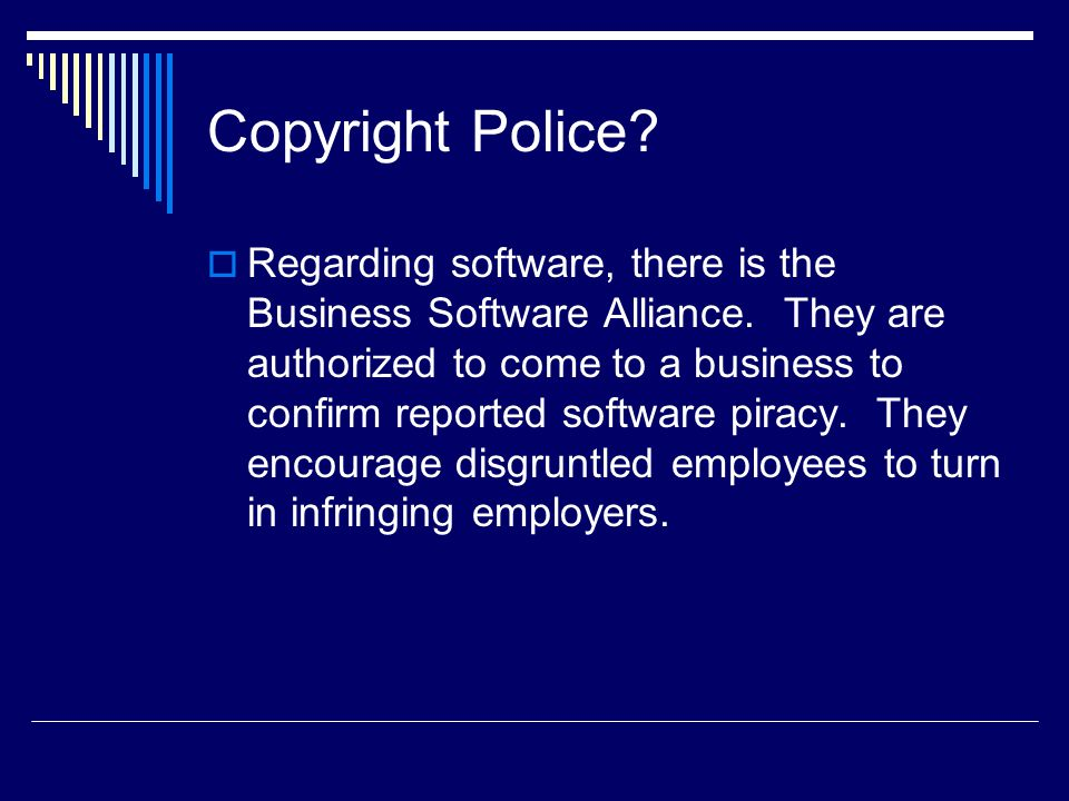 Copyright Police.  Regarding software, there is the Business Software Alliance.