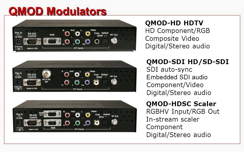 QMOD Modulators QMOD-HD HDTV HD Component/RGB Composite Video Digital/Stereo audio QMOD-SDI HD/SD-SDI SDI auto-sync Embedded SDI audio Component/Video