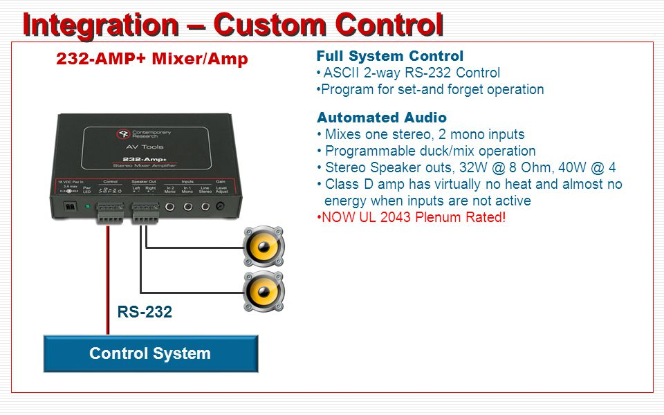 Integration – Custom Control Full System Control ASCII 2-way RS-232 Control Program for set-and forget operation Automated Audio Mixes one stereo, 2 mono inputs Programmable duck/mix operation Stereo Speaker outs, 32W @ 8 Ohm, 40W @ 4 Class D amp has virtually no heat and almost no energy when inputs are not active NOW UL 2043 Plenum Rated.