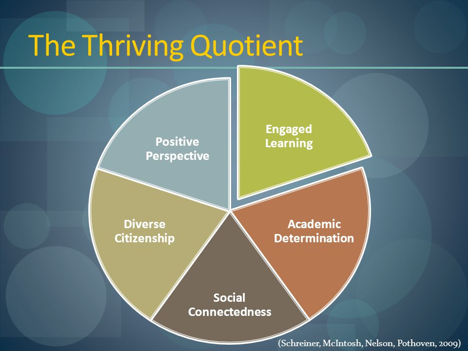 The Thriving Quotient Engaged Learning Academic Determination Social Connectedness Diverse Citizenship Positive Perspective (Schreiner, McIntosh, Nelson, Pothoven, 2009)