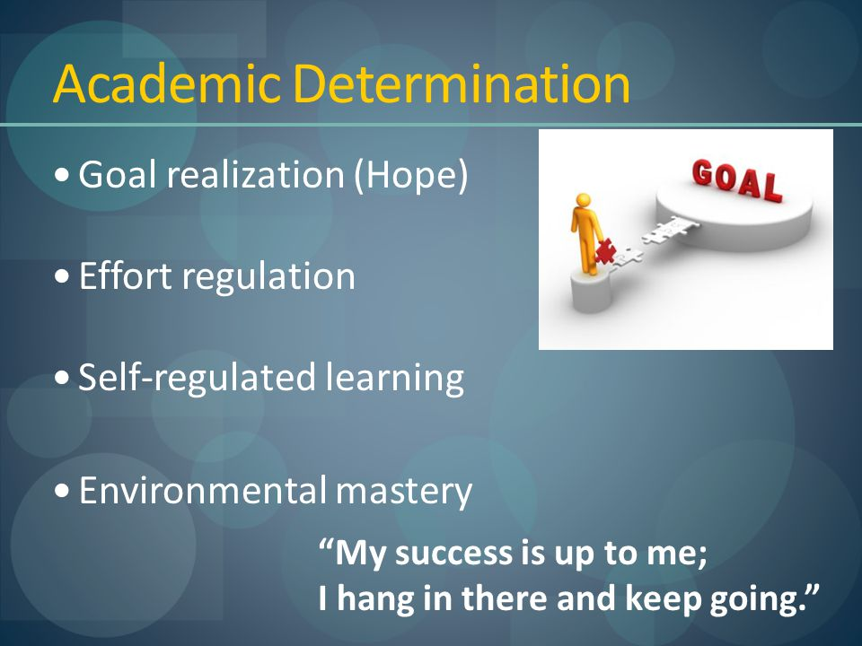 """Academic Determination Goal realization (Hope) Effort regulation Self-regulated learning Environmental mastery """"My success is up to me; I hang in ther"""