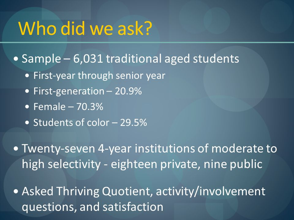 Who did we ask? Sample – 6,031 traditional aged students First-year through senior year First-generation – 20.9% Female – 70.3% Students of color – 29