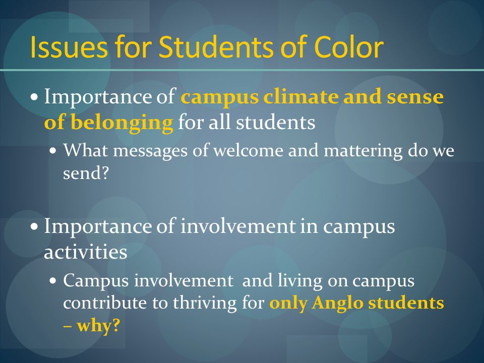 Issues for Students of Color Importance of campus climate and sense of belonging for all students What messages of welcome and mattering do we send.