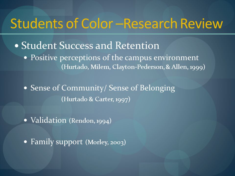 Students of Color –Research Review Student Success and Retention Positive perceptions of the campus environment (Hurtado, Milem, Clayton-Pederson, & Allen, 1999) Sense of Community/ Sense of Belonging (Hurtado & Carter, 1997) Validation (Rendon, 1994) Family support (Morley, 2003)
