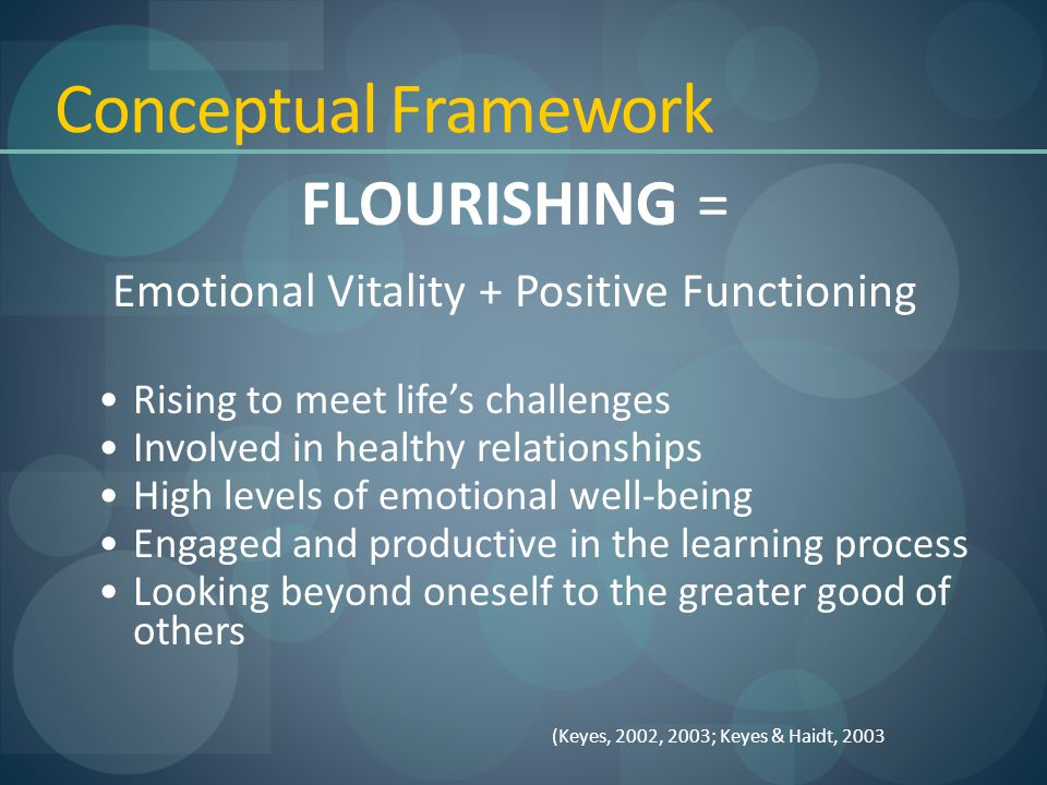 Conceptual Framework FLOURISHING = Emotional Vitality + Positive Functioning Rising to meet life's challenges Involved in healthy relationships High levels of emotional well-being Engaged and productive in the learning process Looking beyond oneself to the greater good of others (Keyes, 2002, 2003; Keyes & Haidt, 2003
