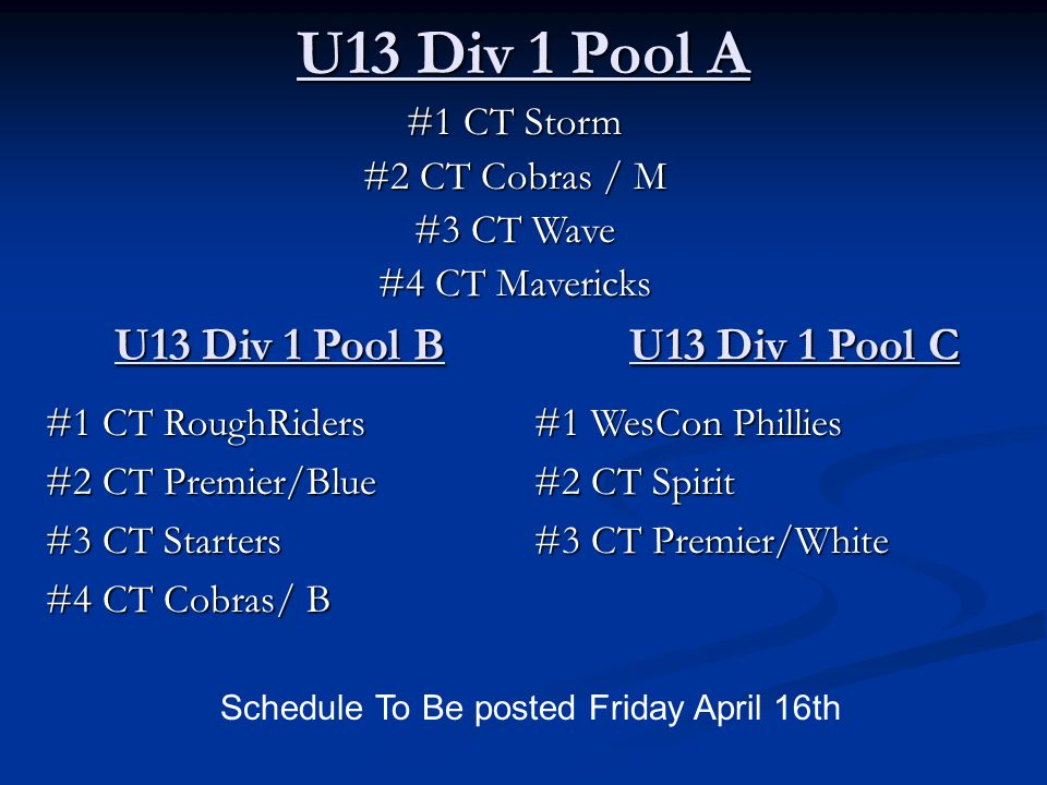 U13 Div 1 Pool A #1 CT Storm #2 CT Cobras / M #3 CT Wave #4 CT Mavericks Schedule To Be posted Friday April 16th U13 Div 1 Pool B #1 CT RoughRiders #2