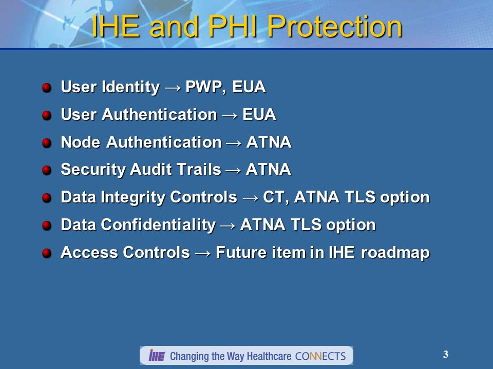 4 Audit Trail and Node Authentication (ATNA) Defines basic security features for an individual system for use as part of the security and privacy environment for a healthcare enterprise.