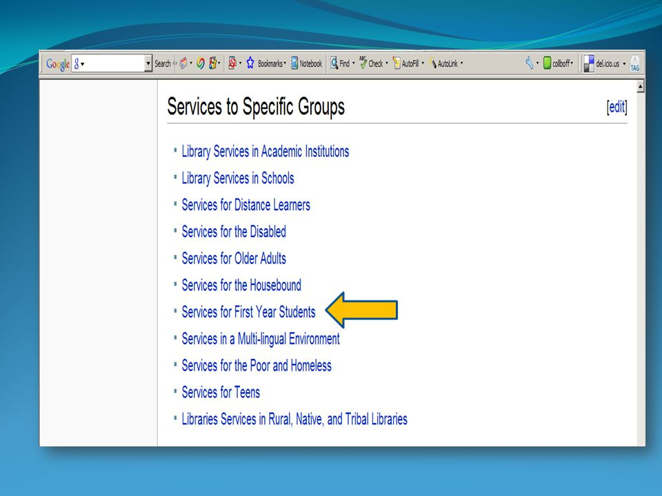 Services to Specific Groups