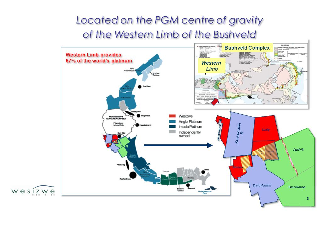 3 Western Limb provides 67% of the world's platinum Western Limb provides 67% of the world's platinum Bushveld Complex Western Limb Located on the PGM