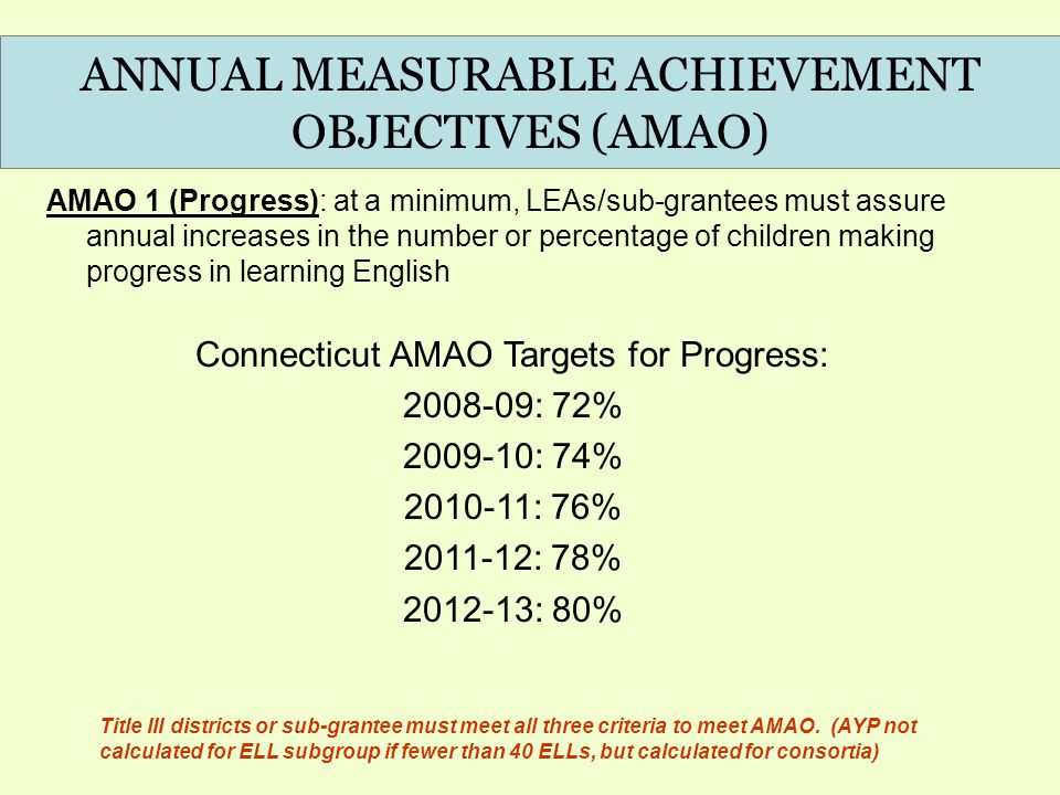ANNUAL MEASURABLE ACHIEVEMENT OBJECTIVES (AMAO) AMAO 1 (Progress): at a minimum, LEAs/sub-grantees must assure annual increases in the number or perce